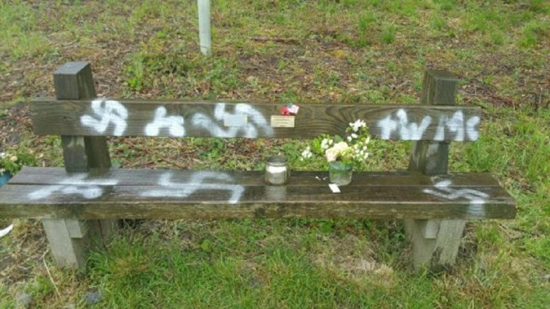 The bench was vandalised at Twyford Woods, Lincolnshire (Picture: PA)