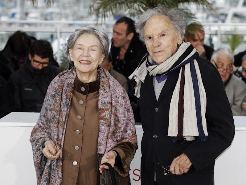 Actors Emmanuelle Riva, left and Jean-Louis Trintignant pose during a photo call for Love at the 65th international film festival, in Cannes, southern France, Sunday, May 20, 2012. (AP Photo/Lionel Cironneau)