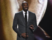 Kobe Bryant present the Arthur Ashe award for courage at the ESPY Awards on Wednesday, July 10, 2019, at the Microsoft Theater in Los Angeles. (Photo by Chris Pizzello/Invision/AP)