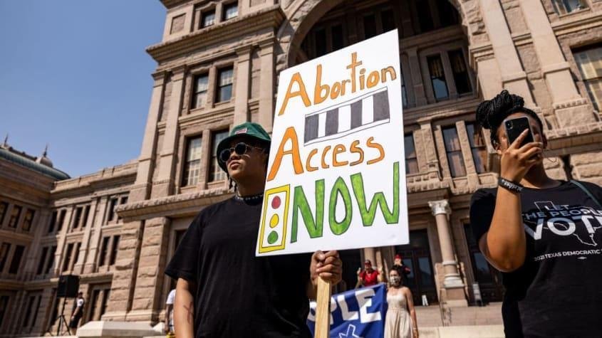 Supporters of abortion rights protest at the Texas State Capitol.
