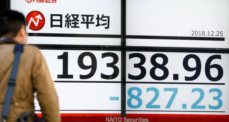 CORRECTS DATE - A man looks at the day's loss of Nikkei stock index on an electronic stock board at a securities firm in Tokyo, Tuesday, Dec. 25, 2018. Japanese stocks plunged Tuesday and other Asian markets declined following heavy Wall Street losses triggered by President Donald Trump's attack on the U.S. central bank. (Yohei Fukai/Kyodo News via AP)