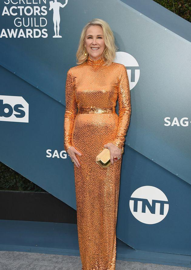Catherine O'Hara arrives at the 26th annual Screen Actors Guild Awards at the Shrine Auditorium & Expo Hall on Sunday, Jan. 19, 2020, in Los Angeles. (Photo by Jordan Strauss/Invision/AP)
