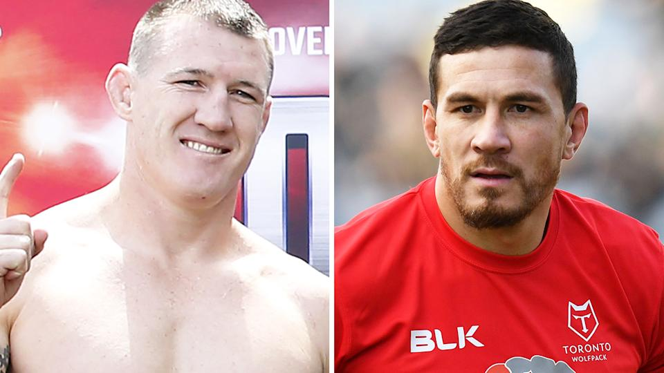 A 50-50 split image shows Paul Gallen on the left and Sonny Bill Williams on the right.