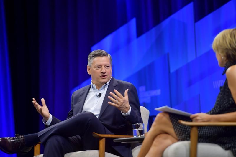 BEVERLY HILLS, CALIFORNIA - OCTOBER 23: (L-R) Ted Sarandos, Chief Content Officer at Netflix and Katie Couric speak onstage during 'Play Next Episode' at Vanity Fair's 6th Annual New Establishment Summit at Wallis Annenberg Center for the Performing Arts on October 23, 2019 in Beverly Hills, California. (Photo by Matt Winkelmeyer/Getty Images for Vanity Fair)