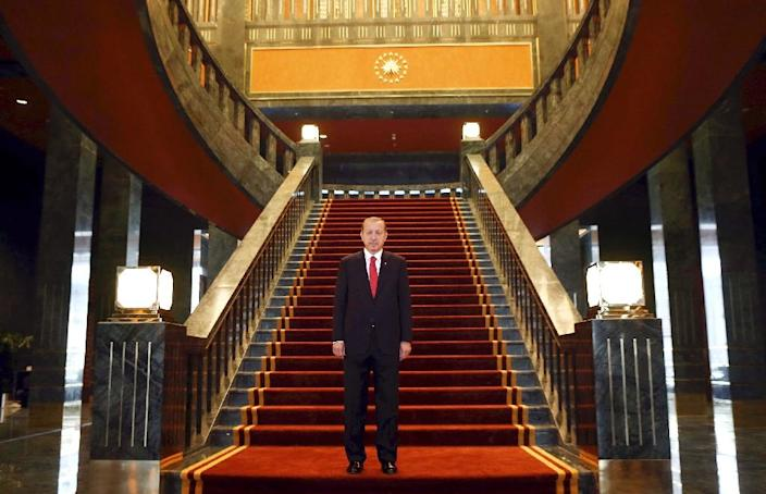 Turkish President Recep Tayyip Erdogan poses inside the new Ak Saray presidential palace (White Palace) on the outskirts of Ankara on October 29, 2014 (AFP Photo/Adem Altan)