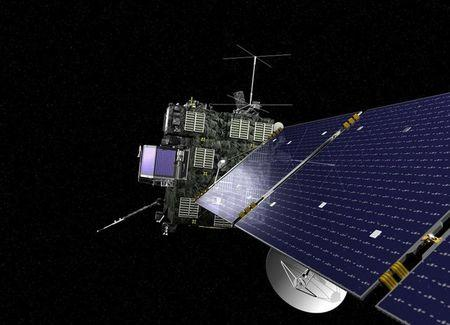 Artist rendering of Rosetta, the European Space Agency's cometary probe with NASA contributions
