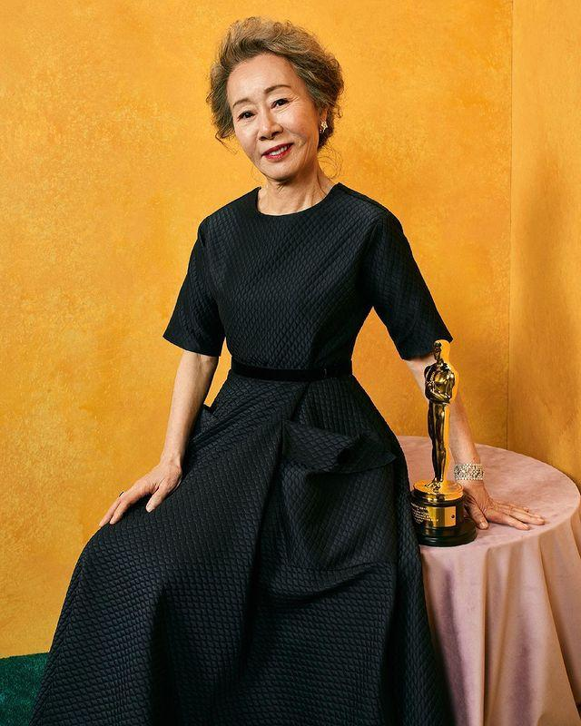 """<p>The celebrated star <a href=""""https://people.com/movies/oscars-2021-minari-youn-yuh-jung-says-her-first-oscars-experience-is-very-strange/"""" rel=""""nofollow noopener"""" target=""""_blank"""" data-ylk=""""slk:won Best Actress in a Supporting Role"""" class=""""link rapid-noclick-resp"""">won Best Actress in a Supporting Role</a> for her portrayal of Soonja in the Oscar-nominated film <a href=""""https://people.com/movies/all-about-minari-the-moving-immigrant-drama-thats-now-a-top-2021-sag-awards-contender/"""" rel=""""nofollow noopener"""" target=""""_blank"""" data-ylk=""""slk:Minari"""" class=""""link rapid-noclick-resp""""><em>Minari</em></a>. Her <a href=""""https://people.com/movies/oscars-2021-youn-yuh-jung-wins-best-supporting-actress/"""" rel=""""nofollow noopener"""" target=""""_blank"""" data-ylk=""""slk:win made history:"""" class=""""link rapid-noclick-resp"""">win made history:</a> She was the first Korean actress to win the award.</p>"""