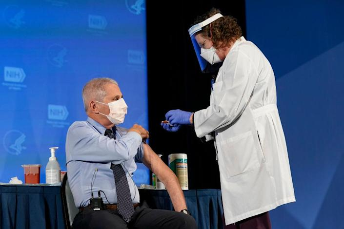 Anthony Fauci, the top infectious disease expert in the US, has been promoting the effectiveness and safety of vaccines. (Getty Images)