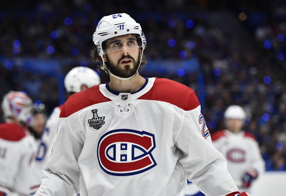 TAMPA, FLORIDA - JULY 07: Phillip Danault #24 of the Montreal Canadiens looks on during the third period of Game Five of the 2021 Stanley Cup Final against the Tampa Bay Lightning at Amalie Arena on July 07, 2021 in Tampa, Florida. (Photo by Florence Labelle/NHLI via Getty Images)