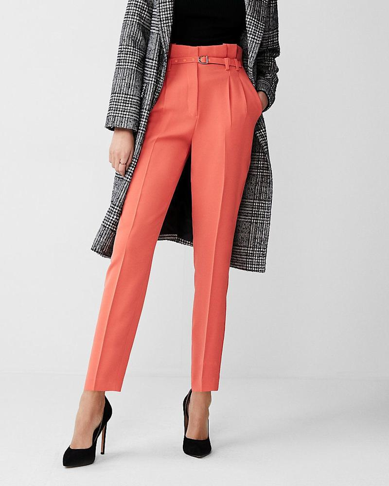 "Get them at <a href=""https://www.express.com/clothing/women/high-waisted-belted-sash-waist-ankle-pant/pro/07459702/color/ORANGE"" target=""_blank"">Express</a>, $70."