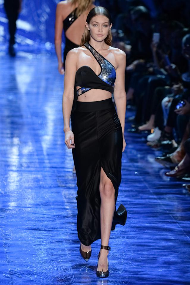 <p>Another of Gigi's many Parisian appearances came at the Mugler SS17 show. <i>[Photo: Getty]</i></p>