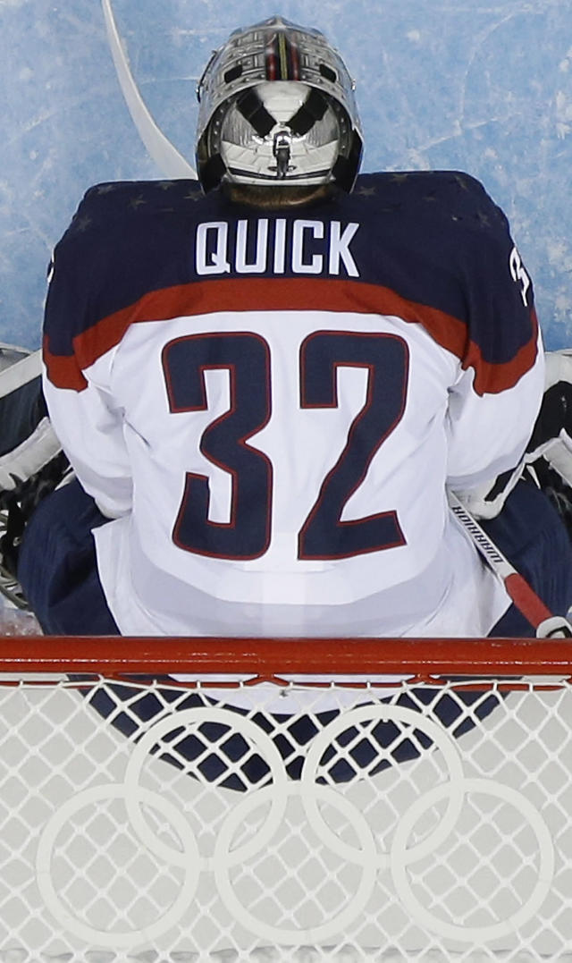 USA goaltender Jonathan Quick stands in the net turing the sencond period of the game against Slovakia at the 2014 Winter Olympics men's ice hockey tournament at Shayba Arena, Thursday, Feb. 13, 2014, in Sochi, Russia. (AP Photo/Matt Slocum)
