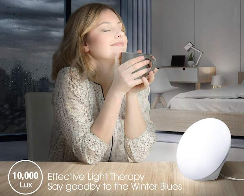 This light therapy lamp delivers a comforting 6500K color temperature on grey days. (Photo: Amazon)