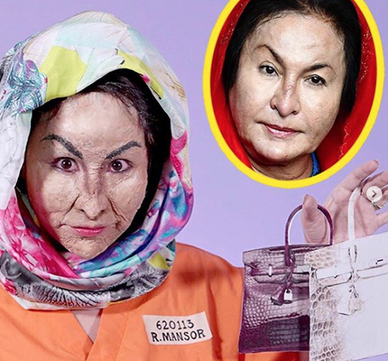 Singaporean blogger XiaXue as Rosmah with a little help from special effects wax and latex.