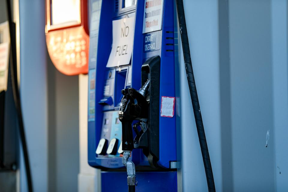 WASHINGTON, USA - MAY 12: Gas pumps closed after ransomware cyberattack causes Colonial Pipeline to shut down, resulting in shortages in Washington D.C, United States on May 12, 2021. (Photo by Yasin Ozturk/Anadolu Agency via Getty Images)