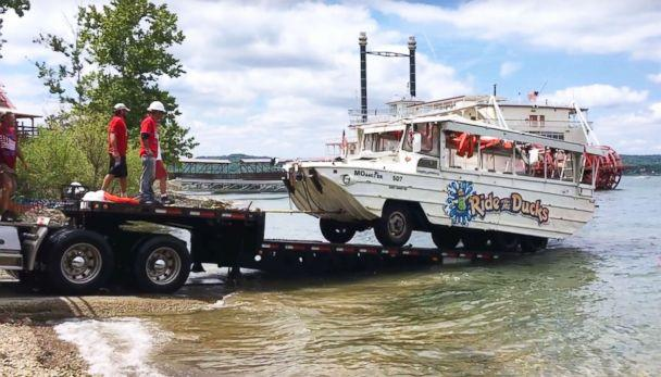PHOTO: Investigators remove the duck boat on July 23, 2018, from Table Rock Lake near Branson, Mo., five days after it capsized in a storm killing 17 passengers. (Western Taney County Fire Protection District , FILE)
