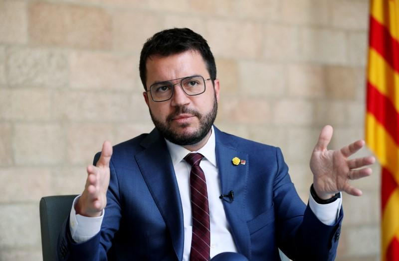 Catalonia's regional head of government Pere Aragones takes part during an interview at Palau de la Generalitat in Barcelona