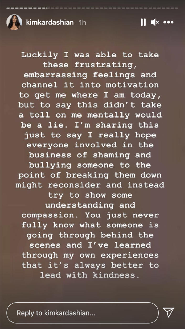 Part of Kardashian's comments on her Instagram Stories. (kimkardashian/Instagram)