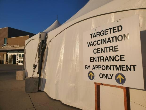 The WFCU Centre mass vaccination site, one of six in Windsor-Essex, is shown in a file photo. (Tahmina Aziz/CBC - image credit)