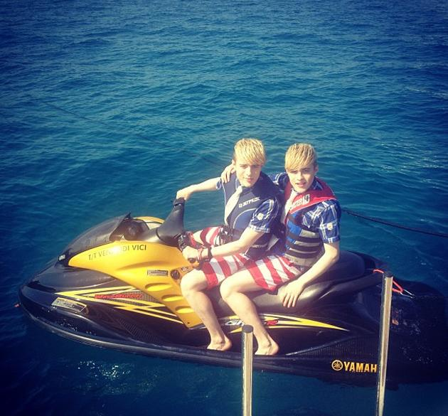 """Celebrity photos: Jedward spent time hanging out on a jet ski this week – as you do. They tweeted the photo alongside the caption: """"JEDSki Riding the Waves!"""""""
