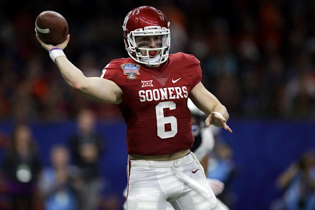 "Mayfield was a Heisman finalist along with teammate <a class=""link rapid-noclick-resp"" href=""/ncaaf/players/251207/"" data-ylk=""slk:Dede Westbrook"">Dede Westbrook</a>. (Getty)"