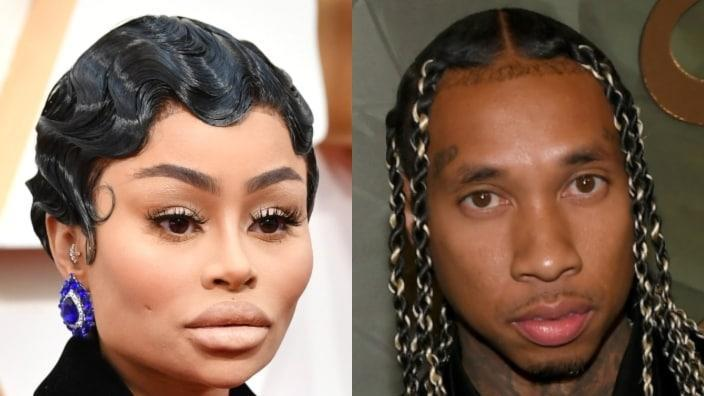 Blac Chyna (left) took to Twitter to air some details about the sexual preferences of ex-boyfriend Tyga (right) in two short notes. (Photos by Amy Sussman/Getty Images and Bryan Steffy/Getty Images for Wynn Las Vegas)