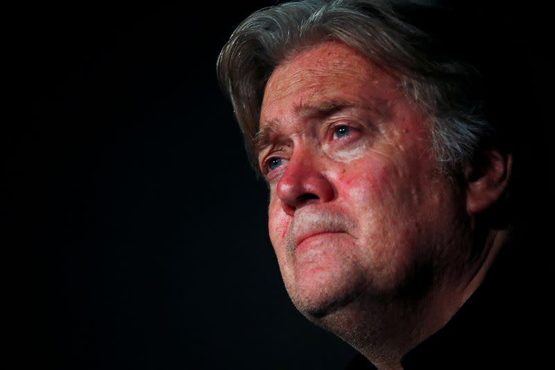 FILE PHOTO: Former White House Chief Strategist Steve Bannon holds a news conference in Rome