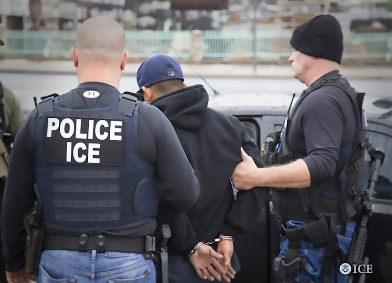 US Immigration and Customs Enforcement (ICE) officers detain a suspect during an enforcement operation in Los Angeles, on February 7, 2017 (AFP Photo/Charles Reed)