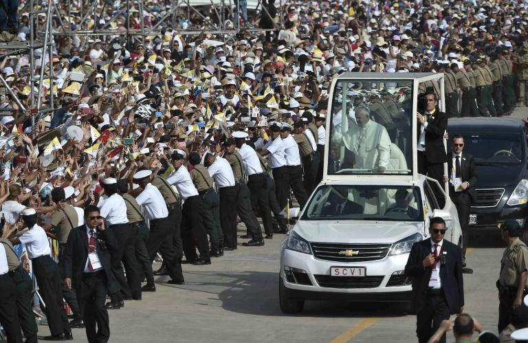 Pope Francis arriving in the popemobile to celebrate mass at the Las Palmas air base in Lima on January 21, 2018, in a handout picture released by the Vatican press office Osservatore Romano