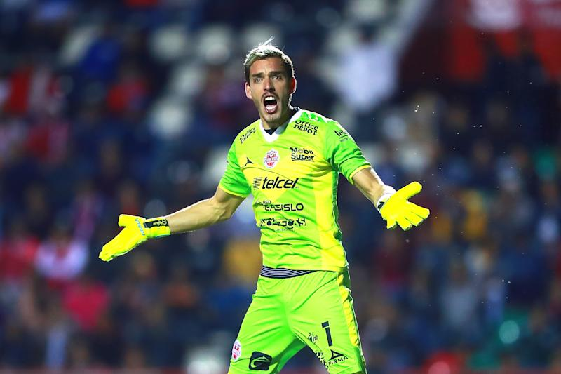 ZACATECAS, MEXICO - APRIL 27: Sebastian Fassi #1 of Mineros reacts during the semifinal second leg match between Mineros and Dorados as part of the Playoffs Torneo Clasusura 2019 Ascenso MX at Estadio Carlos Vega Villalba on April 27, 2019 in Zacatecas, Mexico. (Photo by Hector Vivas/Getty Images)