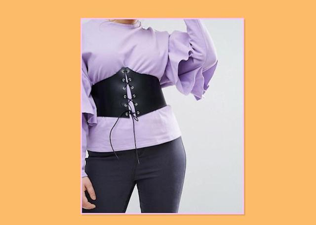 "<p>The corset has been made into an everyday accessory by wearing it casually over T-shirts and dresses, keeping you accessorized and cinched in, all at the same time. ASOS Curve Extra Wide Lace-Up Corset Belt, $24, <a href=""http://us.asos.com/asos-curve/asos-curve-extra-wide-lace-up-corset-belt/prd/8026847?iid=8026847&clr=Black&SearchQuery=curve%20corset%20belt&pgesize=5&pge=0&totalstyles=5&gridsize=3&gridrow=1&gridcolumn=3"" rel=""nofollow noopener"" target=""_blank"" data-ylk=""slk:ASOS"" class=""link rapid-noclick-resp"">ASOS </a> </p>"