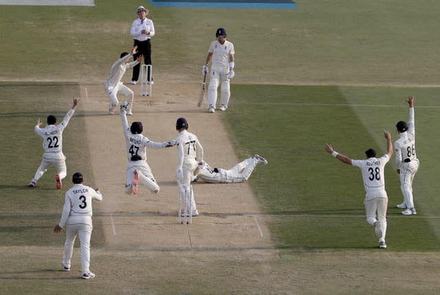 Jack Leach appeared to get no bat on the ball as he fell to the final delivery of the day (Mark Baker/AP)