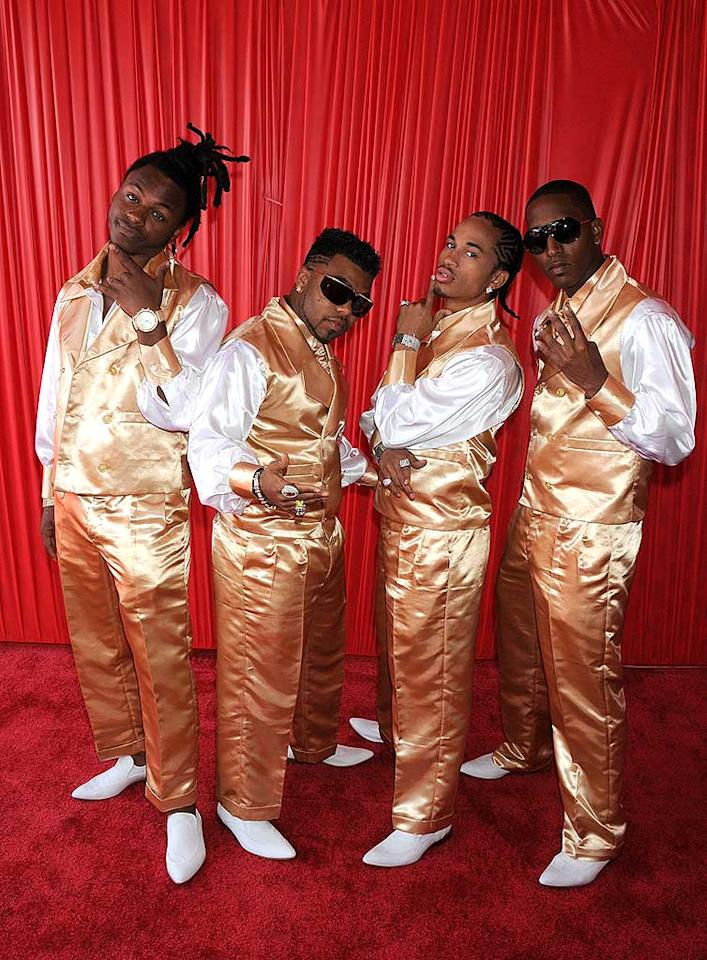 "Boy band Pretty Ricky looked pretty awful in their sickening satin tuxedos. Jeff Kravitz/<a href=""http://www.filmmagic.com/"" target=""new"">FilmMagic.com</a> - June 24, 2008"