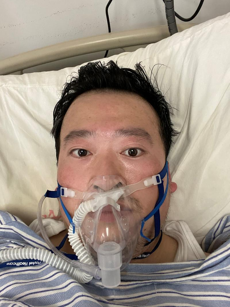 Li Wenliang wears a respirator mask, following the coronavirus outbreak, in Wuhan, China, February 3, 2020 in this picture obtained from social media. Picture taken February 3, 2020