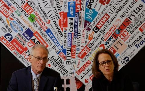 Phil Saviano, a victim of clerical sex abuse, and Anne Barrett Doyle, co-director of Bishop Accountability, speaking to the media in Rome - Credit: Alessandra Tarantino/AP