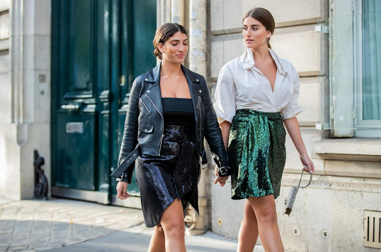 <p>Sequin skirts, when paired with more casual tops like T-shirts and menswear shirting, is perfect for a casual outing-especially when you're twinning with a friend!</p>