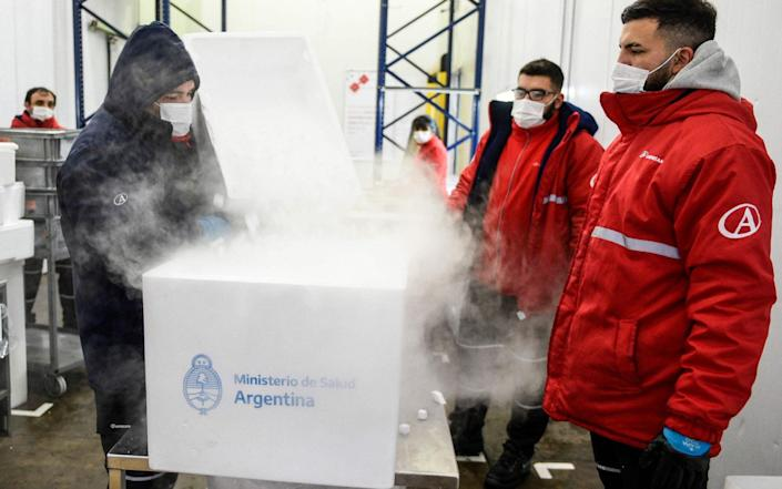 A shipment of 864,000 doses of the AstraZeneca vaccine from the Netherlands arrives in Argentina - AFP