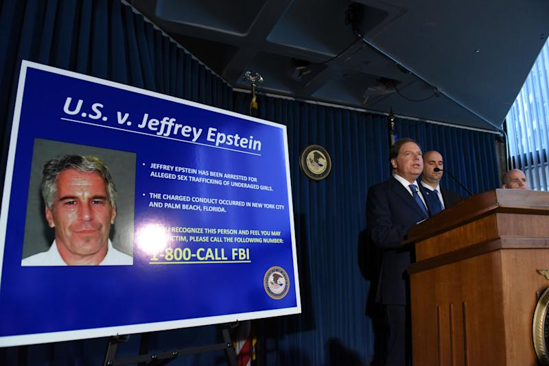Geoffrey Berman, attorney for the Southern District of New York, announces charges against Jeffery Epstein in 2019. (Stephanie Keith/Getty Images)