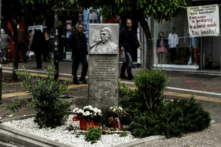 A memorial has been put up in Athens for the Greek rap singer Pavlos Fyssas, who was stabbed to death in 2013