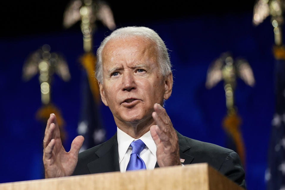 FILE - In this Aug. 20, 2020, file photo Democratic presidential candidate former Vice President Joe Biden speaks during the fourth day of the Democratic National Convention at the Chase Center in Wilmington, Del. The former senator and vice president backs an active federal government that he says should support but not constrict private enterprise, and he believes the highest federal tax burden should fall on the wealthiest. (AP Photo/Andrew Harnik, File)