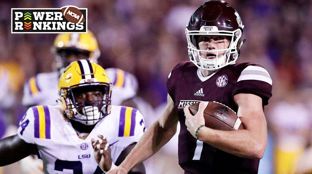 <p>It was hard to figure out the best 25 teams in the nation after Week 3, as some (UCLA, Stanford, LSU, Tennessee), did everything they could to play themselves out of the national title picture in September while others (most of the top 10) took care of business while preparing for conference play to get going.</p><p>Expect minimal movement after Week 4 as well, as there are only two games between teams that both appear in this week's Power Rankings. The Big 12 picture could shift as TCU goes on the road to take on Oklahoma State, and the SEC could learn a little more about Alabama's best competition when Georgia and surprising Mississippi State meet in Athens.</p><p>Now on to this week's Top 25:</p><p></p><h3>1. Alabama (3–0)</h3><p></p><p><strong>Previous ranking: </strong>1<br /><strong>This week: </strong>Beat Colorado State, 43–21<br /><strong>Next week: </strong>at Vanderbilt</p><p>At least for one week, Nick Saban doesn't have to answer questions about his quarterback throwing the ball down the field. Jalen Hurts threw for a season-high 248 yards and two touchdowns and added 103 rushing yards and a score as Alabama won its 67th straight game over an unranked opponent.</p><p></p><h3>2. Oklahoma (3–0)</h3><p></p><p><strong>Previous ranking: </strong> 2<br /><strong>This week: </strong>Beat Tulane, 56–14<br /><strong>Next week: </strong>at Baylor</p><p>Baker Mayfield racked up another 331 yards and four touchdowns as the Sooners won their 13th straight game, which is the nation's longest winning streak. Oklahoma starts conference play next week and may have found its go-to receivers in CeeDee Lamb (four catches, 131 yards) and Marquise Brown (six receptions, 155 yards, one TD).</p><p></p><h3>3. Clemson (3–0, 1–0 ACC)</h3><p></p><p><strong>Previous ranking: </strong>7<br /><strong>This week: </strong>Beat Louisville, 47–21<br /><strong>Next week: </strong>vs. Boston College</p><p>If Kelly Bryant's name wasn't mentioned in the early-season Heisman discussion, ma
