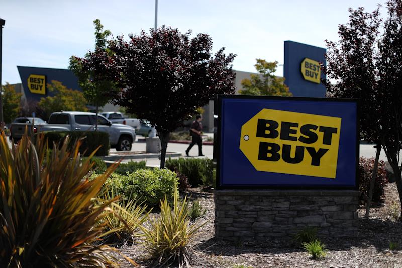 SAN RAFAEL, CALIFORNIA - MAY 23: A sign is posted in front of a Best Buy store on May 23, 2019 in San Rafael, California. Best Buy reported better-than-expected first quarter earnings of $265 million and revenue of $9.14 billion. (Photo by Justin Sullivan/Getty Images)