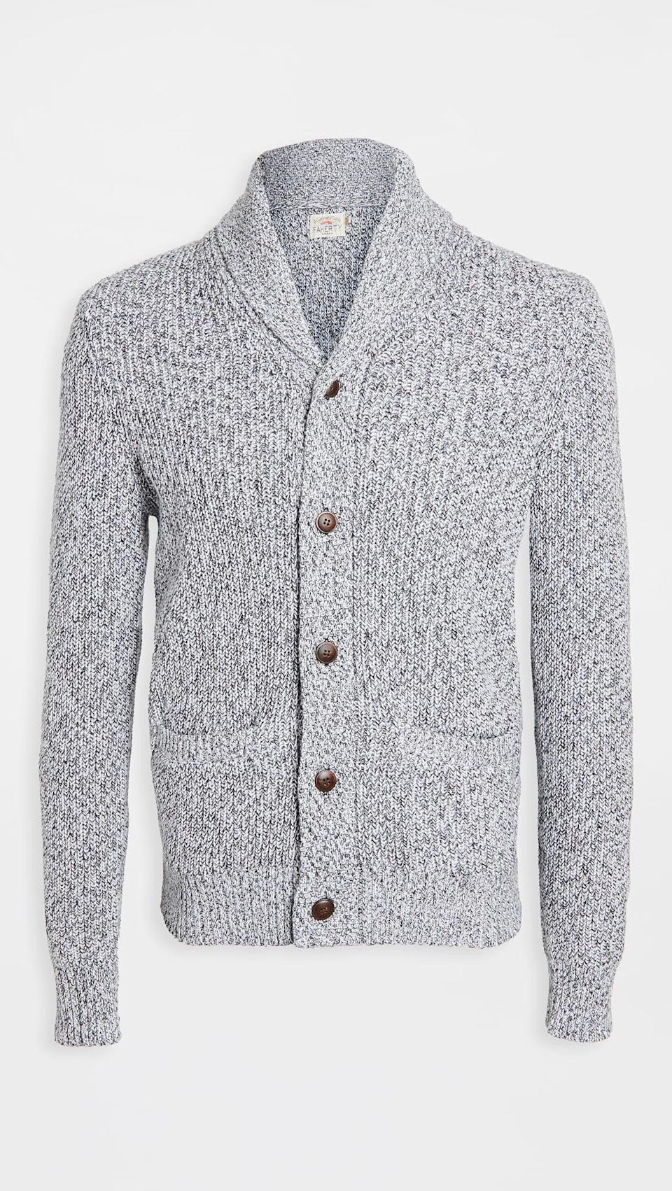 <p>This winter, cozy up in this <span>Faherty Marled Cotton Cardigan</span> ($198).</p>