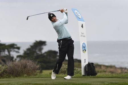 Feb 8, 2019; Pebble Beach, CA, USA; Matt Kuchar on the fourth tee during the second round of the AT&T Pebble Beach Pro-Am golf tournament at Monterey Peninsula Country Club - Shore Cours. Mandatory Credit: Michael Madrid-USA TODAY Sports