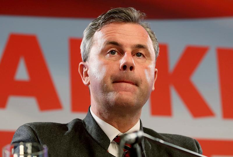Presidential candidate Norbert Hofer of Austria's Freedom Party, FPOE, attends a news conference after the presidential election in Vienna, Austria, Tuesday, Dec. 6, 2016. Austria's defeated right-wing candidate for the presidency says he will run again in six years, when the term of the left-leaning winner ends and new elections are held. (AP Photo/Ronald Zak)