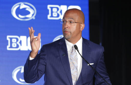 FILE - In this July 19, 2019, file photo, Penn State head coach James Franklin responds to a question during the Big Ten Conference NCAA college football media days in Chicago. The Nittany Lions return just 11 seniors from last seasons 9-4 team that finished third in the Big Ten East. Penn State has 55 first- or second-year players. You've got a bunch of guys that are hungry and are excited and that have something to really prove and got a chip on their shoulder, Penn State coach James Franklin said. Obviously, you lack experience, and experience counts and experience matters.(AP Photo/Charles Rex Arbogast, File)