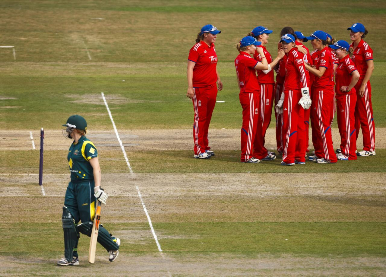 Australia's Alex Blackwell heads to the pavilion after being caught and bowled by England's Jenny Gunn for 23 during the One Day International at The County Ground, Hove.