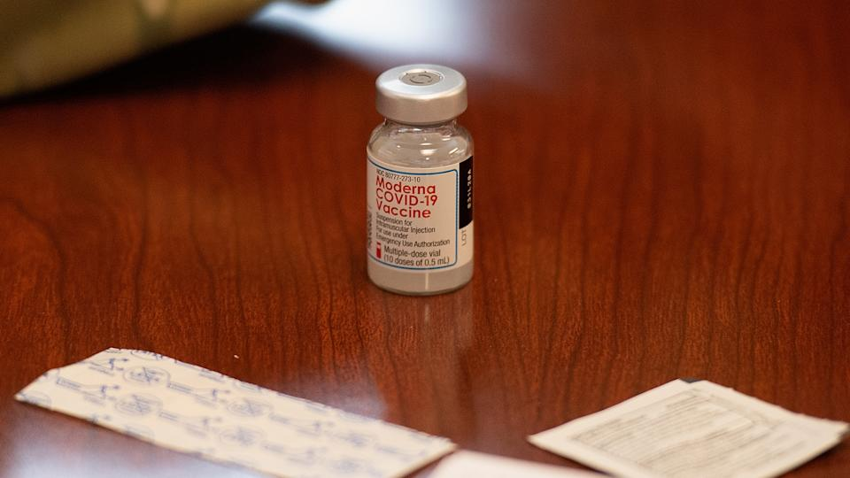 The Moderna Covid-19 vaccine is seen during a vaccination event on February 11, 2021 at the Jeff Vander Lou Senior living facility in St Louis, Missouri. (Michael Thomas/Getty Images)