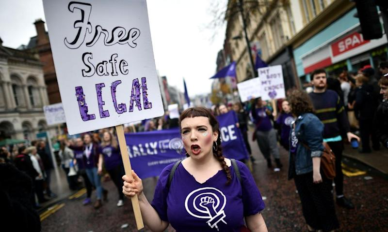 Protestors take part in the Rally for Choice march in Belfast, Northern Ireland
