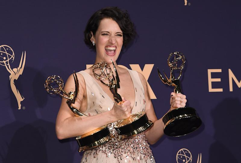 "Phoebe Waller-Bridge poses with the Emmy for Outstanding Writing for a Comedy Series, Outstanding Lead Actress In A Comedy Series and Outstanding Comedy Series for ""Fleabag"" during the 71st Emmy Awards at the Microsoft Theatre in Los Angeles on September 22, 2019.  (Photo: ROBYN BECK via Getty Images)"